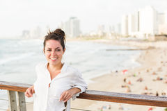 Woman beside the sea Royalty Free Stock Image