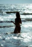 Woman sea dusk Royalty Free Stock Photos