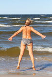 Woman and sea. Royalty Free Stock Photography