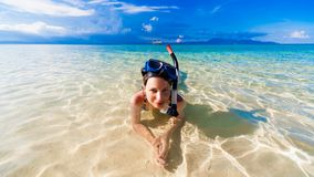 Woman sea with mask Royalty Free Stock Images