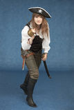 Woman - sea pirate with sabre and pistol Royalty Free Stock Images