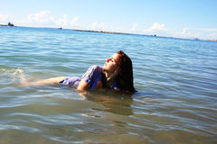 Woman in sea royalty free stock photos