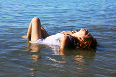 Woman in sea Stock Photo