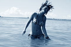 Woman in sea stock images