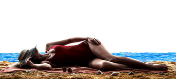 Woman sea sunbathing holidays beach Stock Images