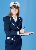 Woman in sea uniform with tablet Royalty Free Stock Image
