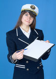 Woman in sea uniform with tablet Stock Photos