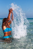 Woman and sea water. Royalty Free Stock Images