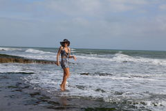 Woman in the sea wave Stock Photos