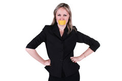 Woman with sealed mouth Royalty Free Stock Images