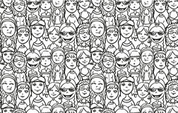 Woman seamless pattern vector in sketch hand drawn royalty free illustration