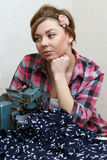 Woman Seamstress Posing Near Sewing Machine Stock Photos