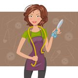 Woman seamstress with scissors and meter. Vector illustration Royalty Free Stock Photos