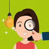 Woman search idea think Royalty Free Stock Image