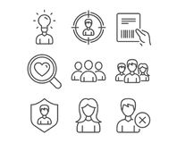 Woman, Search love and Headhunting icons. Parcel invoice, Group and Education signs. Set of Woman, Search love and Headhunting icons. Parcel invoice, Group and Royalty Free Stock Image