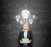 Woman in search of solution Royalty Free Stock Photography