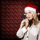 Woman Searching When Christmas Present Shopping Royalty Free Stock Photos