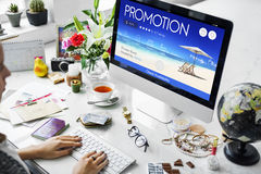 Woman searching flight promotion online Royalty Free Stock Image