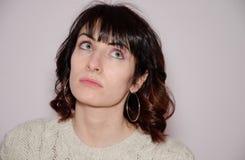 Woman searching inspiration. Closeup of woman searching inspiration Stock Photo
