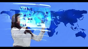 Woman searching through interactive media library on world map background stock video