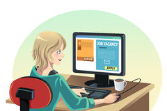Woman searching for a job. A vector illustration of a woman searching for a job online Stock Photo