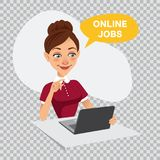 Woman is searching job. Online recruitment service. ONLINE JOBS. Illustration on transparent background. Woman sits at table and looks for job on laptop. Woman Stock Photography