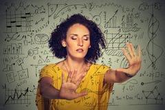 Woman searching walking through complicated social media financial data plan Royalty Free Stock Photos
