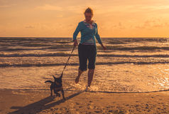 Woman at seaside with dog Royalty Free Stock Photography