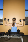 Woman Seated Lifting Weights Stock Photography