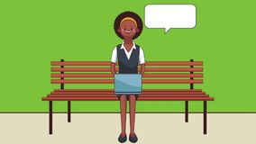 Woman seated using laptop HD animation. Afro woman seated on wooden chair using laptop cartoon high definition animation colorful scenes royalty free illustration