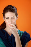 Woman With A Secret Stock Photography