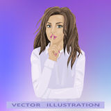 Woman secret, beautiful girl showing gesture shhh. Woman secret, vector illustration, eps 10. Beautiful girl showing gesture shhh Stock Images