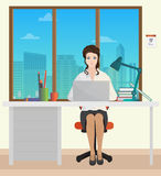 Woman Secretary in office interior. Businesswoman person working on laptop. Royalty Free Stock Photo
