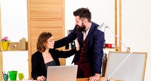 Free Woman Secretary Suffer Assault And Harassment. Harassment And Abuse Concept. Boss Unacceptable Behavior Subordinate Royalty Free Stock Photography - 145217207