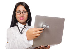 The woman in it security concept Stock Photography