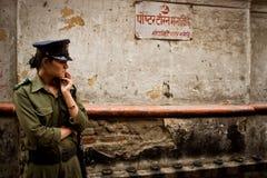 A woman security guard of Kathmandu, Nepal Royalty Free Stock Photo