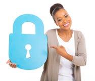 Woman security lock Royalty Free Stock Photos