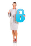 Woman security padlock Stock Images
