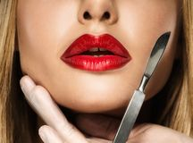 Woman with seductive lips Stock Images