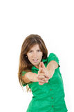 Woman with seductive look making with hands fingers sign like sh Stock Image