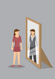 Woman Sees Herself as Professional in Mirror Reflection Vector I Stock Images