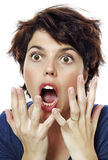 woman sees something unexpected Stock Image