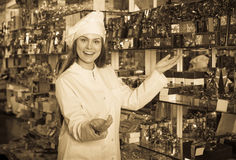 Woman selecting fine chocolates. Positive woman selling fine chocolates and confectionery in cafe stock image