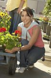 Woman Selecting Flower Plant Royalty Free Stock Images