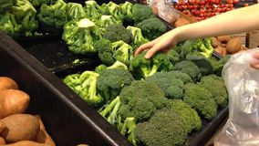 Woman selecting fresh broccoli in grocery store stock footage