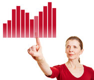 Woman selecting graph on statistics Stock Photos