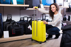 Woman selecting handy trunk in store Royalty Free Stock Photography