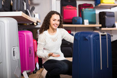 Woman selecting handy trunk in store Stock Images
