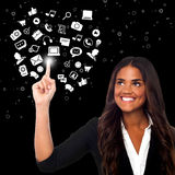 Woman selecting icons, virtual world. Businesswoman prefers social media platform Stock Photos