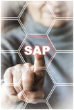 Woman selecting SAP technology Stock Photo